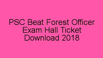 PSC Beat Forest Officer Hall Ticket