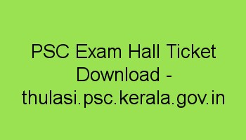 PSC Police Constable Exam Hall Ticket Download