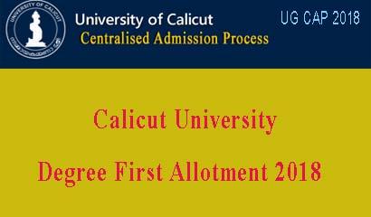 Calicut University First Allotment 2018