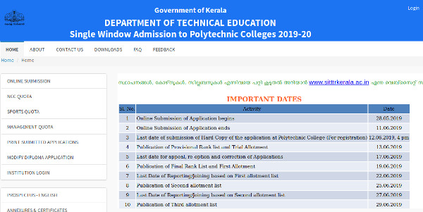 Kerala Polytechnic Trial Allotment and Ranklist 2019