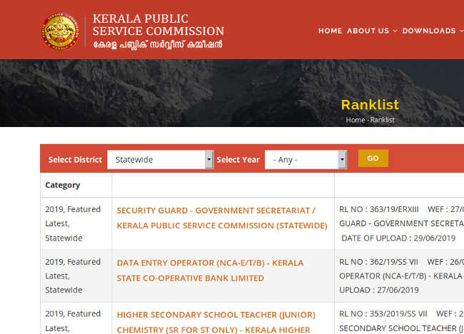 PSC Police Constable Rank List 2019