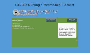 LBS Paramedical / BSc Nursing Rank List 2020